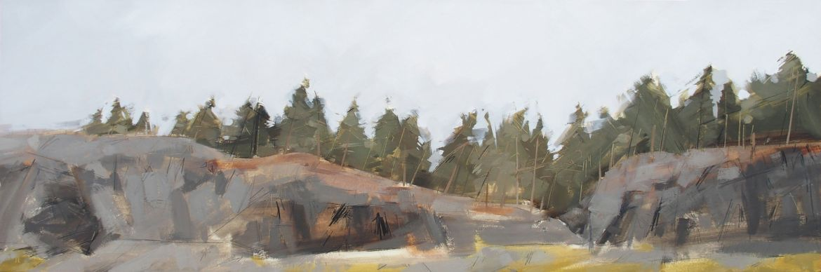 Anna King, Landscape painting, Oil and pencil on board